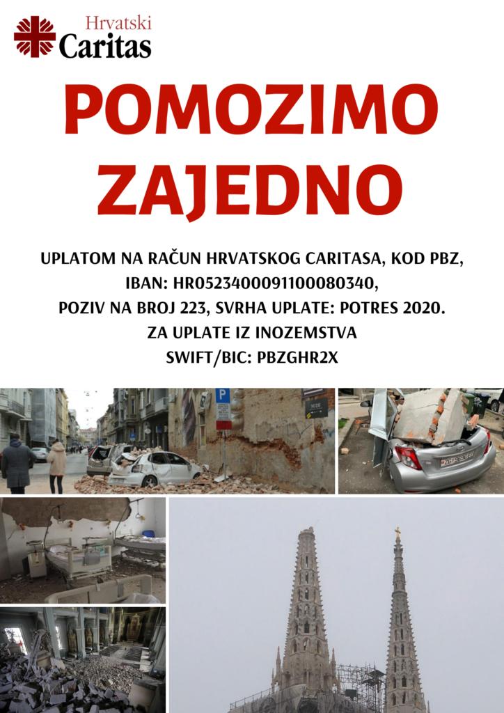 """Akcija Hrvatskog Caritasa za žrtve potresa u Zagrebu """"Pomozimo zajedno"""""""